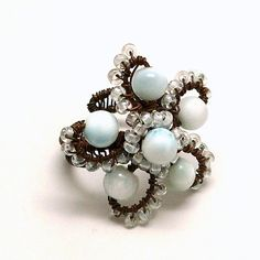 Larimar Flower Wire Wrapped Copper Ring Rustic by AnnaWireJewelry, $44.99