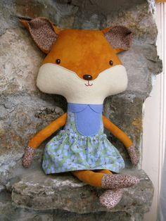 Plush Stuffed Girl Fox Softie Doll by whimsyvintage on Etsy, $55.00
