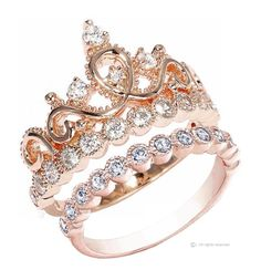 Sterling Silver Crown Ring / Princess Ring and Band Set (Rose Gold Plated) Size 5, Women's, Size: 5.00