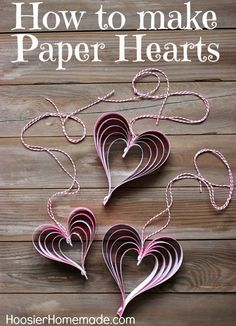 How to Make Paper Hearts - just a few simple supplies to make these adorable hearts for Valentine's Day! Pin to your Valentine's Day Board! Valentines Bricolage, Valentine Day Crafts, Valentine Decorations, Be My Valentine, Holiday Crafts, Holiday Fun, Valentine Ideas, Printable Valentine, Kids Valentines