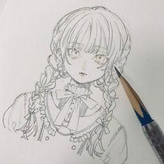 Anime Drawings Sketches, Anime Sketch, Anime Drawing Styles, Anime Character Drawing, Character Art, Anime Art Girl, Manga Art, Pretty Drawings, Cartoon Art Styles