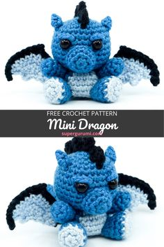 This cute mini dragon is easy and quick to crochet and is perfect as a little cuddle buddy, gift or key chain. If you have always wanted to ride a dragon, this one is probably too small, but is just as much fun. Easy Crochet Animals, Crochet Animal Amigurumi, Crochet Monsters, Crochet Amigurumi Free Patterns, Crochet Animal Patterns, Crochet Stuffed Animals, Quick Crochet Patterns, Crochet Dragon Pattern, Crochet Bee