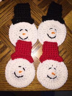 Winter Coasters.  Follow us on Instagram (@ldjcrochet) and like us on facebook (LDJ Crochet) #ldjcrochet