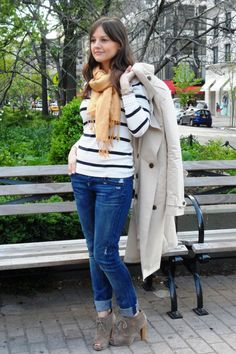Get the look with Ruby jean and new stripe tee add a pop of color with our RED convertible trench...so fun