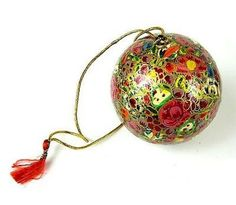 Papier Mache Ball Ornament - inch lowers Handmade and Fair Trade. This papier mache ball ornament is handmade and hand painted by Indian artisans. The diameter ornament has a loop for hanging. Holiday Crafts For Kids, Kids Christmas, Christmas Crafts, Christmas Bulbs, Christmas Decorations, Ball Ornaments, Holiday Ornaments, Holiday Gifts, Holiday Decor