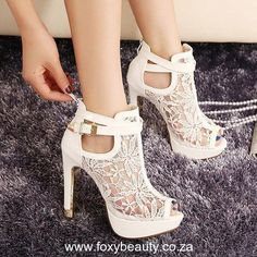 """White Lace High Heel SHoes Specification: Product Details Pumps Type Gladiator Toe Style Open Toe Shoe Width Medium(B/M) Heel Type Chunky Heel Heel Height Range Super High(Above4"""") Occasion Party Upper Material Lace Season  #shoes  #highheelshoes #womenshoes #sexyshoes"""