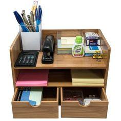 Gracie Oaks Viviana Desktop File Folder Organizer with 2 Pockets and 2 Drawers   Wayfair File Folder Organization, Office Supply Organization, Desktop Organization, Wire Storage, Storage Spaces, Easy Storage, Desk Organizer Set, File Organiser, Organizers