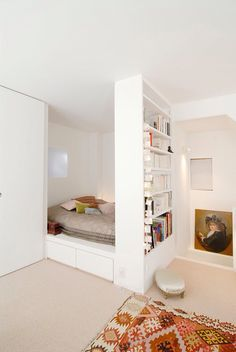 Bedroom nook in a studio apartment.
