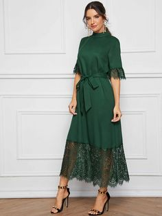 Mock-Neck Lace Cuff and Hem Self Belted Dress Modest Dresses, Modest Outfits, Simple Dresses, Pretty Dresses, Beautiful Dresses, Sexy Dresses, Elegant Dresses For Women, Stylish Dresses, Casual Dresses