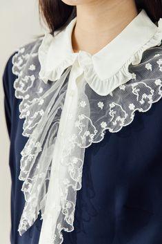 Lace Kitty Shirt(Navy) - Miss Patina - Vintage Inspired Fashion