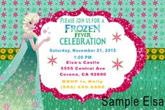 Elsa Frozen Fever Birthday Invitation- Click on the image twice to place orders or follow me on facebook. or email me at the address in BIO.