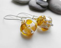Silver & gold venetian glass earrings with czech glass beads - modern & chic jewelry, $19