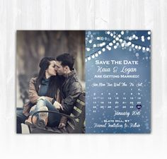 Winter Save The Date Magnet or Card DIY by TreasuredMomentsCard