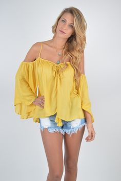 Mustard Seed Open Shoulder Top | Must Have | Open Shoulder Top | Spring and Summer Fashion | Trendy Mustard Color | Tassel Details | Wide Arms | Boho Bliss | Everyday Wear | Buy NOW on Foiclothing.com |