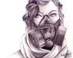 PRINT. Robotic People: 8x10 inch print of realistic drawing of a woman with a gas mask.
