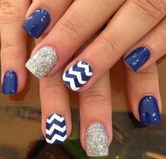 Navy Blue Nails with Chevron and Silver Glitter for Accent.