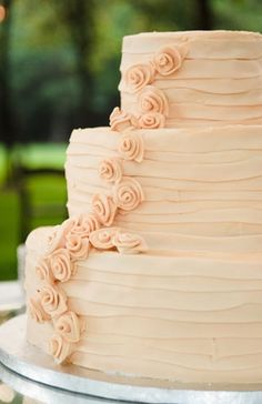 Elegant and round off-white  buttercream cake, with rose details. Like my dress! Hmm... We need to renew our vows...