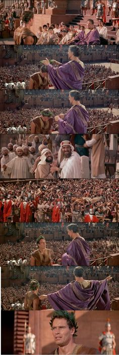 """Ben-Hur is crowned a god """"for the moment being"""" to the people at the stadium by Pontius Pilate. The crowds root for Ben-Hur's success feeling that this victory belongs to them, who have been underdogs in the Roman regime for too long. Ben-Hur 1959"""