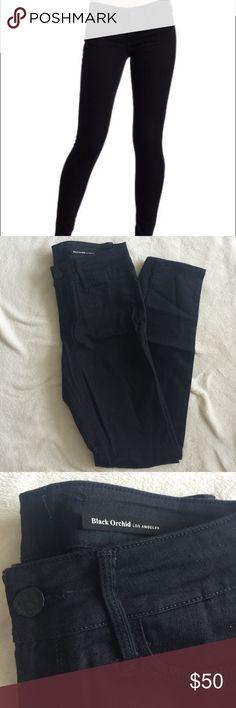 "Black Orchid Denim in Jet Black Skinny jeans in black. Rise: 10"", waist: 15"", length: 30"". Barely worn Black Orchid Jeans Skinny"