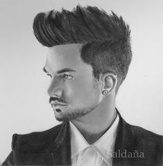 Adam Lambert in graphite and black Karismacolor. Strathmore 300. By T Saldana