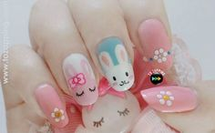 Adorable Easter Nail Art Designs You Must Try Easter nails; Egg And Bunny Nail Art Designs; Cute Nail Art Designs, Easter Nail Designs, Easter Nail Art, Pretty Designs, Polish Easter, Easter Decor, Nail Art For Girls, Nails For Kids, Nail Art Strass