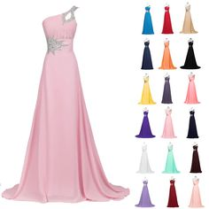 GK Bridal Long Chiffon Evening Gown Bridesmaid Dress Prom Formal Party Ball Gown #GraceKarin #OneShoulder #Formal