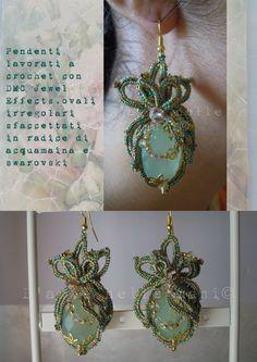 Earrings crochet with DMC Jewel Effects, aquamarine root irregular oval and swarovski