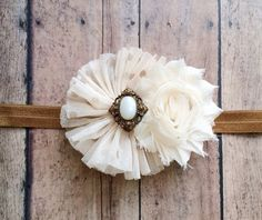 Rustic chic headband, baby bow, photo prop, photography prop, newborn photo prop on Etsy, $9.95