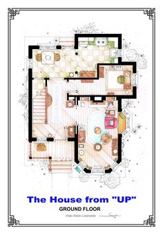 """This is the ground floor floorplan of Carl & Ellie's residence from the film """"UP"""" by Pixar. It's an original hand drawed plan, in scale, coloured with colour pens and with full details of furniture and complements. If you want to buy an original drawing, especially handmade for you write me to mailto:ializar@hotmail.com or visit my ETSY store."""
