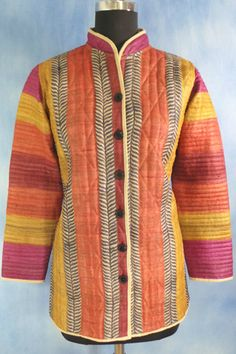 Tussar Block Printed Quilted Jacket, Tussar Quilted Jacket, Front Open, Chinese Coller.