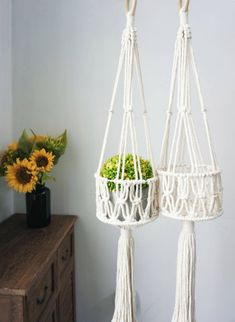 How can you not love this simple macrame plant hangers, you could also use it as a hanging fruit bowls, it is classic, modern and practical, fit in with any decor style #macrameplanthanger #macramelove #macramemaker #macramesupply #verticalgardening #urbangardening #macrametassels #fluffytassels #smallbusiness #hangingplanter #planthanger #indoorgardening #macramehanger #macramedecor #bohodecor #bohemian #macramebasket Diy Macrame Wall Hanging, Macrame Plant Hanger Patterns, Macrame Plant Holder, Macrame Patterns, Crochet Plant Hanger, Macrame Design, Macrame Projects, Hanging Plants, Plant Hangers