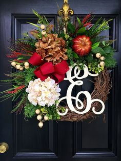 Fall Wreath for Door Wreath Monogram Wreaths Door by FleursDeLaVie