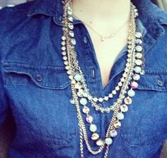 Mallory pairing her favorite Sabika necklaces with a chambray top