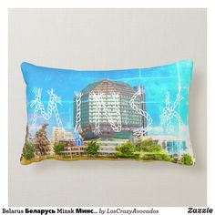 Belarus Беларусь Minsk Минск Library Architecture Lumbar Pillow