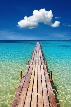 Wooden pier, tropical paradise, Kood island, Thailand