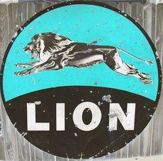 Old Lion gas station sign