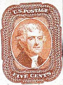 1858 Jefferson, brick red, type I for sale at Mystic Stamp Company Thomas Jefferson, Rare Stamps, Stamp Collecting, Postage Stamps, Famous People, Mystic, Poster, United States, Abstract Art