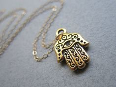 See no Evil Gold Hamsa Necklace beautifully by TheDirection