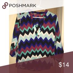 Charlotte Russe chevron shirt Medium Quarter length sleeves that buttons, offers welcome! Charlotte Russe Tops Blouses