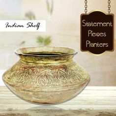 Statement pieces #vintage #waterpots #planters are available at https://www.indianshelf.com
