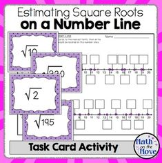 Estimating Square Roots on a Number Line - Task Card Activity This activity consists of 32 task cards with irrational numbers. Students move around, while practicing locating them on a number line. Math Resources, Math Activities, Estimating Square Roots, Math Classroom, Maths, Irrational Numbers, Math Enrichment, Math Task Cards, Curriculum Planning