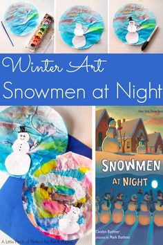 Snowmen at Night: Coffee Filter Art - Pre-K Pages Snow Theme, Winter Theme, Winter Crafts For Kids, Winter Kids, Spring Crafts, Coffee Filter Art, Coffee Filters, Snowmen At Night, Snow Crafts