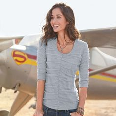 """EMILY RUCHED TEE--Casual glamour in a couldn't-be-more-comfortable tee with front and sleeves of diaphanous ruched tulle. Three-quarter sleeves. Cotton/spandex under tulle. Machine wash. Imported. Exclusive. Sizes XS (2), S (4 to 6), M (8 to 10), L (12 to 14), XL (16). Approx, 25""""L."""