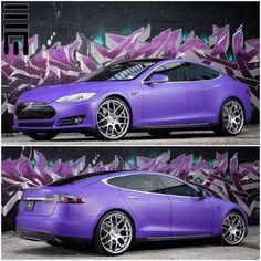 chicerman.com majestix: Matte purple wrapped #Tesla Model S P85 customized by @exclusivemotoring @exclusivemotoring #exclusivemotoring #miami Photos by @raymondneice @raymondneice #cars