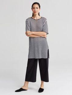 Round Neck Elbow-Sleeve Tunic in Organic Linen Knit Stripe-S7SIP-W4273