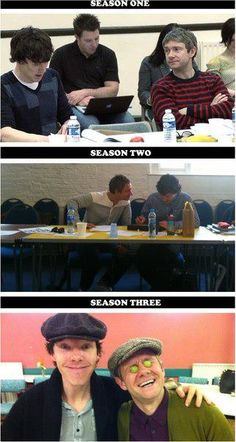 I'm really interested by their body language in the pictures. In season 1, there's a lot of space between Benedict and Martin, and Martin has his arms crossed, signifying slight discomfort (though he could just be cold). Season 2, they're closer and have more open body language, showing they're more comfortable with each other. Season 3, they're in each other's intimate space (very close - touching), showing they're very close and comfortable with each other. I love it!