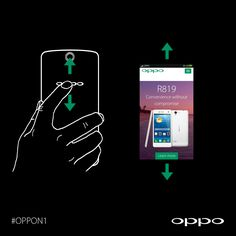 Use the rear touch panel to scroll through websites. #OPPON1