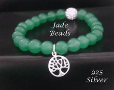 Tree of Life Bracelet with Jade Beads and 925 Silver Tree Pendant by MyTreeOfLifeJewelry is available at www.treeoflifejewellery.com.au, www.etsy.com/shop/MyTreeOfLifeJewelry and www.treeoflifejewellery.com #treeoflifenecklace #treeoflifependant #treeoflife #treeoflifejewelry #jewelry #necklace #pendant