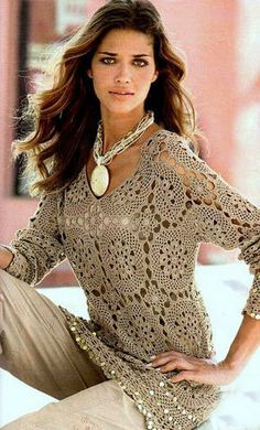 CROCHET MOTIFS SUMMER TUNIC COVER UP PATTERN INSTANT DOWNLOAD  Motifs cover up is perfectly well for hot summer. It`s elegant and stylish. You can make either dress or tunic/cover up by the pattern. It is constructed using large and small crochet motifs, joined together as you work.  Size: 42-44-48-53-60-65 (RUS), S-M-L-XL-XXL, 4-6-10-12-18-22 (US), 36-38-42-44-48-53 (EU).  The pattern is written in English, using US terms.  Skill Level Intermediate.  Materials needed: yarn lace wei...