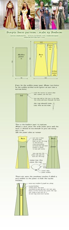 recipes renaissance Simple medieval dress pattern by Sindeon on deviantART. Simple medieval dress pattern by Sindeon on deviantART. And you can always modify the bottom or the length of it easily! Simple Medieval Dress, Medieval Dress Pattern, Cloak Pattern, Medieval Gown, Sewing Hacks, Sewing Tutorials, Sewing Projects, Cosplay Tutorial, Cosplay Diy